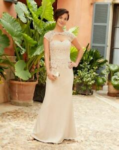 Joanna Hope Lace Trim Maxi Dress Embroidered Wedding Party Ball Gown Size 28
