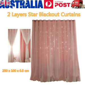 Star Blockout Blackout Curtains 2 Layers Eyelet Pure Fabric Room Darkening AU