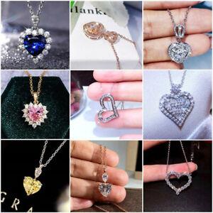 Heart Elegant Jewelry Zirconia 925 Silver Necklaces Pendants Wedding Party Gifts