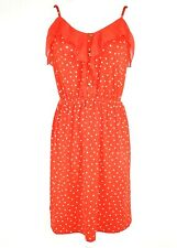 Elle Red White Polka Dot Adjustable Strap Dress Elastic Waist Ruffle Top MEDIUM