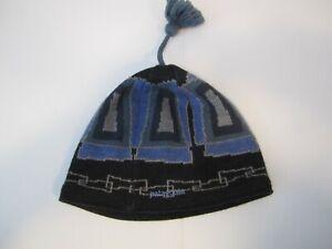 PATAGONIA Dark Blue Wool Tassel Beanie Made in France