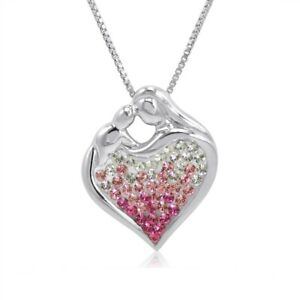 .925 Sterling Silver Mother and Child Heart Pendant with Swarovski Crystals