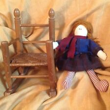 Small Wooden Rocking Chair And Doll