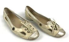 TOD'S Flats 36.5 Beige Cream Ballerina Loafers Shoes Bow Shimmer Leather Cut out