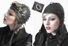 Chapeau bonnet aviateur gothique punk steampunk cuir vegan rivet laçage Punkrave
