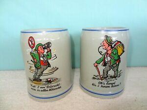 (2) VINTAGE German Beer Mugs Stoneware Beer Stein Mugs Barware Made in Germany
