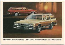 1982 Chevrolet Malibu Classic Station Wagon Automobile Advertising Postcard