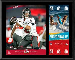 Tom Brady TB Buccaneers 12'' x 15'' Super Bowl LV Champs Plaque & Replica Ticket