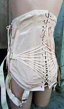 Vtg Gale Long Lace Up 4 Gartars Boned Corset Girdle Cinch Steampunk Back Support