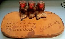 Vintage Salt Lake City Desk Souvenir 3 Wise Monkeys See, Hear, Speak No Evil