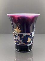 Fenton Plum Opalescent Diamond Optic Scroll Vase-Connoisseur Collection #692/750
