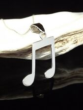 """Solid Sterling Silver 925 Music Note Pendant 16/18/20"""" Necklace Chain Gift Box"""