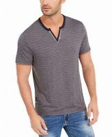 INC Mens Shirt Gray Size XL Striped Split-Neck Short Sleeve T-Shirt $24 #048