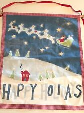 """Pottery Barn Kids HAPPY HOLIDAYS Christmas Canvas Wall Hanging 25"""" x 29"""" Banner"""