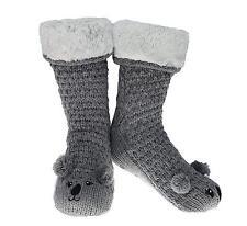 Slipper Socks 3D Novelty Cute Animal Knitted Extra Warm Wool Slippers Grey Koala
