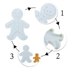 Christmas Gingerbread Man Cookie Cutter and Stamper Skeleton Bakings Mould RF