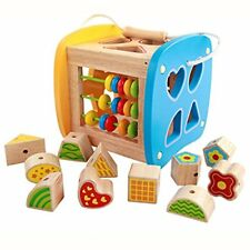 Wooden Activity Cubes Shapes Sorting Cube,Lacing beads, Xylophone, Abacus,Early