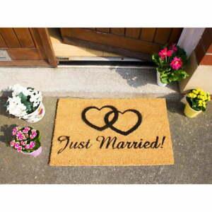 ARTSY DOORMATS DESIGNER HEAVY COIR DOORMAT - JUST MARRIED -  BNWT