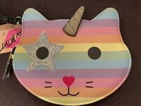 LUV BETSEY JOHNSON Unicorn Kitty Wristlet PASTEL RAINBOW  New!