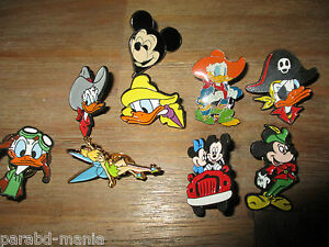 Lot anciens pin s-Disney-Fée clochette,Donald,Mickey,Minnie-Email grand feu