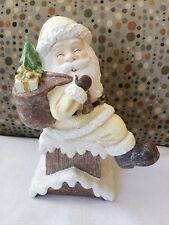 "American Greetings Xmas Santa Claus On Chimney Resin Figurine 10.5"" Decoration"