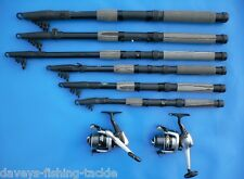 2 7ft CARBON TELESCOPIC RODS+FD30 REELS+LINE COARSE SEA FISHING TRAVEL SPINNING
