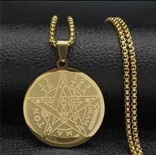 Witchcraft  Pentagram Stainless Steel Chain 25mm Gold Color Wiccan Jewelry