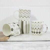 Set of 4 White Brown Stripes Spots NewBone China Tea Coffee Drink Cups Mugs New