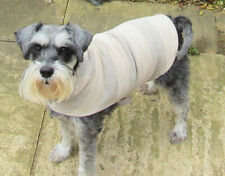 "Medium: Dog Coat/Jumper/vest/hoodie. 13"" Long "" 20-22"" Wide - Beige stripe"