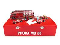 Race Transporter Ferrari Set Fiat 642 + 3 F156 and 2 Mecanics 1961 Brumm 1/43