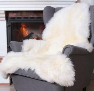 REAL FUR White Sheepskin Thick Soft Wool Genuine Natural HUGE Area Rug 130-140cm