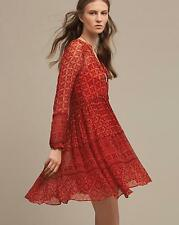 NEW Anthropologie Womens Dress Canna Swing Maeve Red Long Sleeve 61817 Size 4