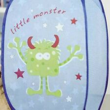 Little Monsters Laundry Hamper - Blue Mesh Pop-up Childrens Kids Storage Basket