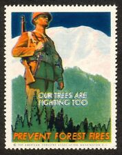 WWII Our Trees Are Fighting Too, Prevent Forest Fires Poster Stamp OG NH