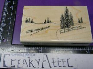 TREESCAPE ROAD FENCE SCENE PINE TREES RUBBER STAMP PENNY BLACK 4004K CREAKYATTIC