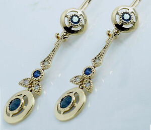 E132 Genuine 9K Solid Yellow Gold NATURAL Sapphire Diamond Earrings with closure