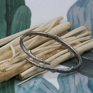 Men Women Barbed Wire Steel Open Bracelet Twist Thorns Titanium Silver Bangle