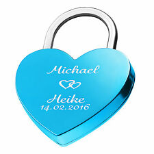 Heart Love Lock Engraved Blue Gift Idea With Desire Engraving on both sides
