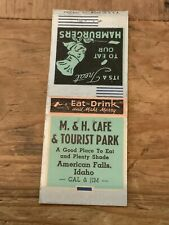M & H Cafe & Tourist Park American Falls Idaho Id Vintage Bobtail Matchcover