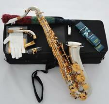 Professioanl Silver Gold C Melody Saxophone Abalone Key 2-Neck +Sax Metal Mouth