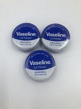 Set Of 3 Vaseline Lip Therapy, Lip Balm Tin Original 0.6 oz