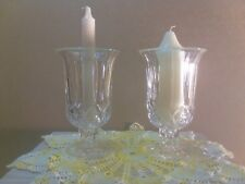 Pair of Tall Vintage  Pressed Glass Candle Holders