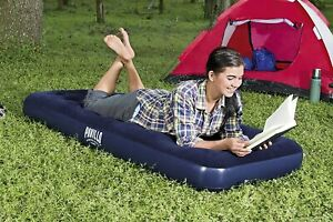 INFLATABLE SINGLE FLOCKED COMFORT AIR BED CAMPING MATTRESS AIRBED BLUE Travel