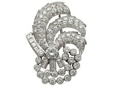 4.95ct Diamond and Platinum Brooch - Art Deco Style - Vintage Circa 1940