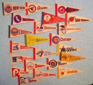 """LOT OF 22 Vintage 1970'S Major League Baseball & Football Pennants  9"""""""