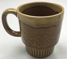 Tan Brown Drip Glaze Stackable Retro Coffee Mug / Cup 1970s Vintage Rare Colour