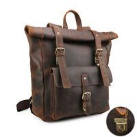 """Vintage Brown Large Men's Real Leather 17"""" Laptop Backpack Shoulder Bag Handbag"""
