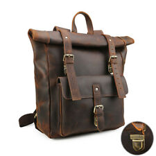 "Vintage Brown Large Men's Real Leather 17"" Laptop Backpack Shoulder Bag Handbag"