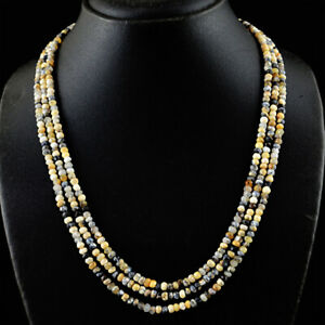 242.00 Cts Natural 3 Strand Dendrite Opal Round Faceted Beads Necklace JK 58KY6