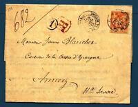 FRANCE - FRANCIA - 1883 - Da PARIGI a ANNECY, Alta Savoia - 40c rosso arancio